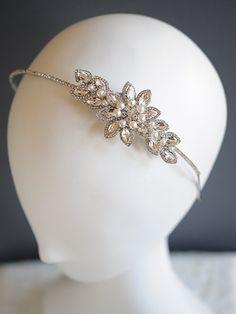 Crystal Wedding Headband Leaf Vine Bridal by GlamorousBijoux