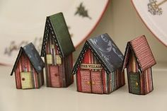 an ordinary account of life with five kids, creating stuff, and an addiction to christmas Paper Houses, Cardboard Houses, Cardboard Sculpture, Miniature Houses, Mini Houses, Putz Houses, Bottle Brush Trees, Glitter Houses, Paper Tags