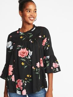Old Navy Women's Lightweight Ruffle-Trim Swing Top Black Floral Regular Size XL Professional Dresses, Teacher Style, Swing Top, Shop Old Navy, Pretty Baby, Clothes Horse, Cotton Lace, Girls Shopping, Toddler Girl