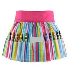 I really want to make this little crayon apron for my little girl.  But, let's be real, the fabric is what makes it...