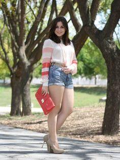 low_chic Outfit  Lady  Primavera 2012. Combinar Cartera Rojo suave Dorothy Perkins, Shorts Azul Petróleo H