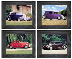 Framed Picture Wall Decor Ford Phaeton, VW Bug, Ford Coupe Vintage Car Rustic 8x10 4 Set Art Print Posters Barn Wood Frames, Frames On Wall, Framed Wall Art, Framed Art Prints, Wall Decor Pictures, Decorating With Pictures, Framed Pictures, Picture Wall, Picture Frames