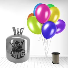 Stor Helium Gas Cylinder inkl. 50 Forskellig-farvede Balloner og Hvidt Bånd