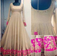 Pretty! White designer anarkali with pink border. #designeranarkali #whiteanarkali #anarkali