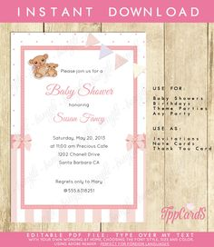 New to TppCardS on Etsy: Instant Download Pink Teddy Bear Baby Shower Invitations Editable Pdf DIY 5x7 Printable Teddy Bear Invitation for Girl AUTOFILL enabled (6.00 EUR)