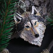 "Pendant ""Grey wolf"" – shop online on Livemaster with shipping Polymer Clay Figures, Polymer Clay Animals, Polymer Clay Pendant, Fimo Clay, Polymer Clay Projects, Polymer Clay Charms, Polymer Clay Creations, Polymer Clay Art, Clay Crafts"