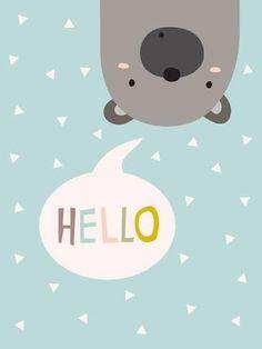 Bear Print Turquoise Nursery Print Baby Boy Gift by nanamiadesign