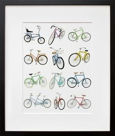 12 Bicycle Drawings  by Christine Berrie