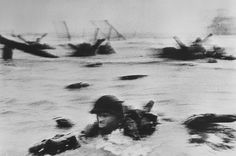 ROBERT CAPA   FRANCE, Normandy. June 6th, 1944   US troops assault Omaha Beach during the D-Day landings (first assault)   Robert Capa © International Center of Photography   Magnum Photos