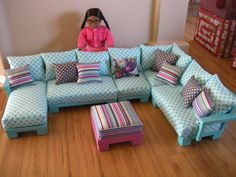 AVAILABLE for APRIL DELIVERY - Doll Couch Chairs Living Room Furniture Sectional for American Girl Dolls or 18-inch Dolls (Josephine Set). $350.00, via Etsy.