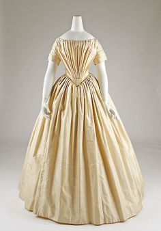 Ivory silk moiré wedding dress, probably French, ca. 1844.