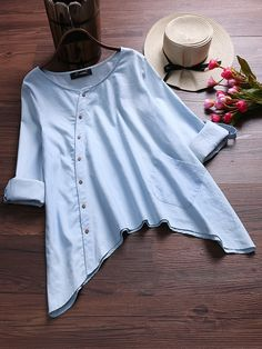 O-NEWE Elegant Irregular Hem Blouses with Pocket can cover your body well, make you more sexy, Newchic offer cheap plus size fashion tops for women. Stylish Dresses For Girls, Stylish Dress Designs, Designs For Dresses, Girls Dresses Sewing, Pakistani Fashion Casual, Pakistani Dresses Casual, Girls Fashion Clothes, Fashion Outfits, Girls Frock Design