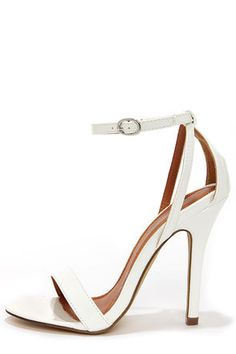 Lola 1 White Patent Ankle Strap Heels at LuLus.com! Would be cute with the crop top look or floral romper. Size 10