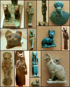 A collection of Egyptian Bastets and Sekhmets illustrating the importance of cat iconography in Egyptian culture. (Ashmolian Museum, Oxford).