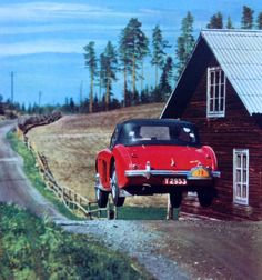 """legendsofracing: """" An Austin-Healey gets air during the Rally to the Midnight Sun, Sweden, in """" Vintage Sports Cars, British Sports Cars, Classic Sports Cars, Vintage Racing, Vintage Cars, Classic Cars British, British Car, Classic Auto, Classic Style"""