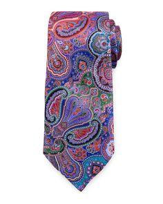 Ermenegildo Zegna Quindici silk tie with hand-printed paisley pattern. The tail…
