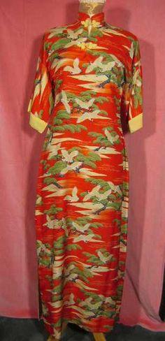 Vintage 1940s Hawaiian Dress Pake Muu at Robin Clayton Vintage