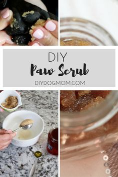 Simple and easy all-natural homemade paw scrub for dogs! DIY Paw Scrub will keep your dog's paws healthy and clean all year long!