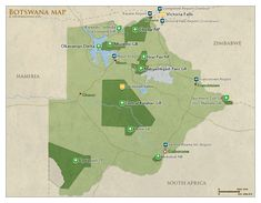#Map of Botswana with national parks and #highlights for safaris | #Botswana Safari Travel Guide – with info about: Parks, Best Time to visit, Photos, Videos & Reviews!