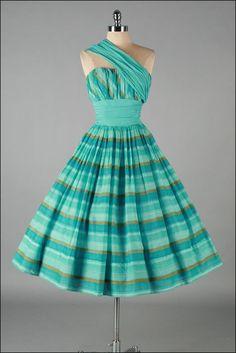 Vintage 1950s Dress Aqua Stripe Shoulder by millstreetvintage, $325.00