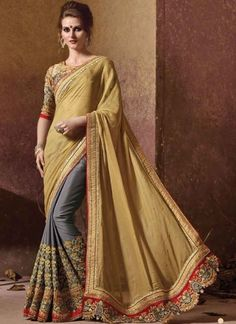 Golden Cream And Grey Silk Georgette Designer Half N Half Saree