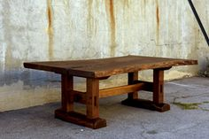 Hand made, custom Minooka Dining Table designed by Nick Offerman and built by Matty. California Claro Walnut Slab Wood top. Made in USA.