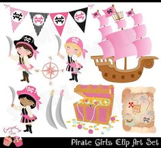 Pirate Girls Clip Art Set on Etsy, $5.00