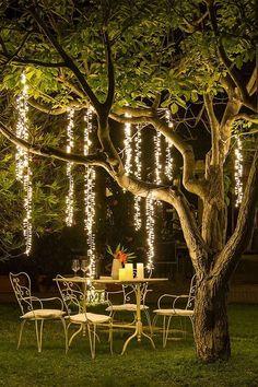 Backyard Lighting, Outdoor Lighting, Outdoor Decor, String Lights Outdoor, Outdoor Spaces, Starry String Lights, Party Outdoor, Lighting Ideas, Indoor Outdoor