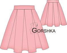 wykroj spodnicy z kontrafaldami GORSHKA