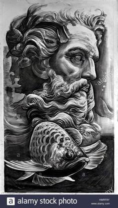 Zeus Tattoo, Poseidon Tattoo, Statue Tattoo, Poseidon Drawing, Crow Tattoo Design, Angel Tattoo Designs, Tattoo Sleeve Designs, Sleeve Tattoos, Japanese Tattoos For Men