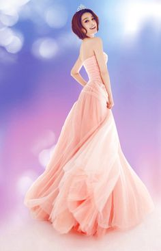Wholesale Sweet & Charming Strapless Long Evening Dress----Pink top dresses
