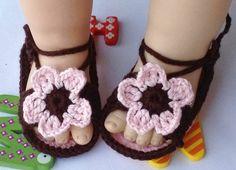 Cioccolato Crochet Baby Boy Sandali Slipper di Minibeebee su DaWanda.com