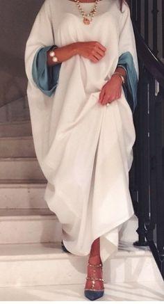 General Tunic White Day Dresses Polyester Casual Round Neckline Shift Dress Spring Long Sleeve Maxi Summer Fall S Color Block M L XXL Dress Iranian Women Fashion, Arab Fashion, Muslim Fashion, African Fashion, Modest Fashion Hijab, Fashion Dresses, Abaya Designs, Mode Hijab, Fashion Design