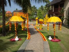 Decorated umbrella adds a tone of festivity to the Indian wedding.