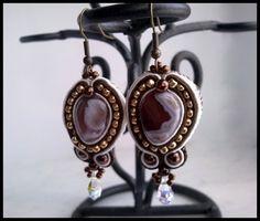 Botswana #Agate and #Swarovski Crystal #Soutache Dangle #Earrings #Handmade by @Kathy Adams #specialtivity #Jewelry on #ArtFire