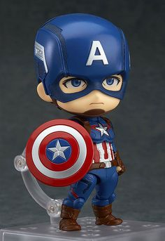 The next of the Avengers to join the Nendoroids - Captain America! From 'Avengers: Age of Ultron' comes a figure of the leader of the Avengers, Captain America! The fully articulated Nendoroid has been carefully sculpted and painted with his u. Chibi Marvel, Marvel Art, Marvel Heroes, Marvel Comics, Figurines D'action, Marvel Captain America, Anniversaire Captain America, Anime Figures, Action Figures