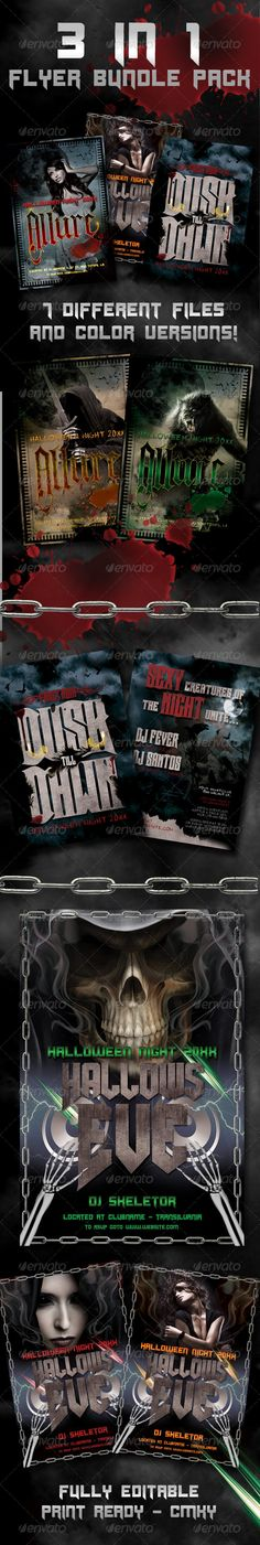 Halloween Flyer Bundle — Photoshop PSD #monster #chain • Available here → https://graphicriver.net/item/halloween-flyer-bundle/662800?ref=pxcr