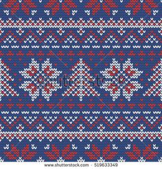 Christmas knitting seamless pattern in Red, Blue and White. Perfect for wallpaper, wrapping paper, pattern fills, winter greetings, web page background, Christmas and New Year greeting cards