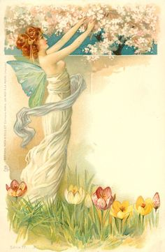 Fairy with apple blossoms and tulips