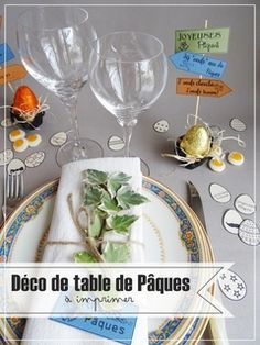 DIY tuto Déjeuner de Pâques-Décos de table à imprimer.