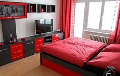 The 50+ Best Entertainment Center Ideas - Home and Design - Next Luxury Red Bedroom Design, Black Bedroom Decor, Bedroom Black, Bedroom Paint Colors, Gothic Bedroom, Bedroom Designs, Wall Colors, Red Black Bedrooms, Red Rooms
