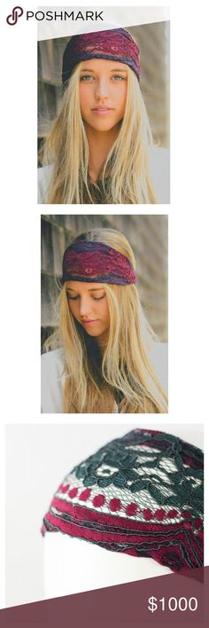 Lace Headband This listing is for a two tone lace headband. Very comfortable! Won't slip off your head. Elastic back. 100% Polyester. Colors available:     Burgundy                                                                  Red                                                                            Black Accessories Hair Accessories