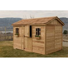 Features:  -Features two functional windows with screens and two flower boxes.  -No dangerous and time consuming cutting required.  -Manageable panel sizes.  -Western red cedar shingles already attach