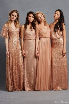 donna morgan bridesmaid dresses camilla natalya courtney emmy gowns flutter sleeves blouson sleeveless peach copper rose gold / http://www.deerpearlflowers.com/2015-wedding-trends-sequined-metallic-bridesmaid-dresses/2/