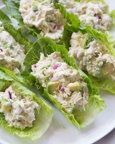 If you love chicken salad and avocados you will go CRAZY for these AVOCADO CHICKEN SALAD LETTUCE WRAPS They make a healthy and delicious lunch that I cant get enough of httptastesbetterfromscratchcomavocadochickensaladlettucewraps Wrap Recipes, Lunch Recipes, Cooking Recipes, Healthy Recipes, Dinner Recipes, Avocado Chicken Salad, Chicken Salad Recipes, Chicken Salad Lettuce Wrap Recipe, Tuna Salad