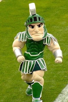 micigan state spartans mascot | Sparty mascot of the Michigan State University Spartans in green and ...