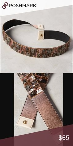 NWT Anthropologie Striated Sparkle Belt, rose,S, L Beautiful elastic belt will sparkle up your dress and your night out. Rare find and only have size S and L in stock. Anthropologie Accessories Belts