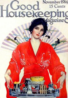 A beautiful Japonisme influenced cover of Good Housekeeping Magazine, November 1914. #Edwardian #Japonisme #vintage #Asian #fashion