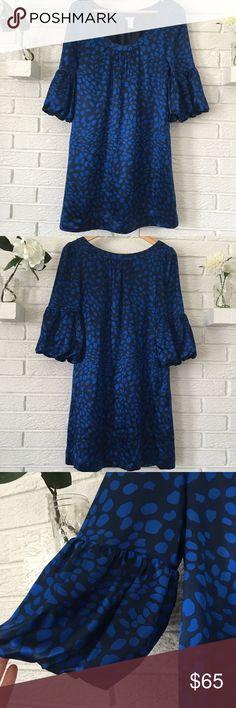 "Aqua Silk Dress with Bell Flare Sleeves Adorable Aqua polka dot/animal print silk shift dress. Black + Cobalt Blue. Bell/flare sleeves. 100% silk. Excellent condition! Approximate measurements: Underarm: 18"" Waist: 20""  Length: 32"" Sleeve Length: 16"". Aqua Dresses"