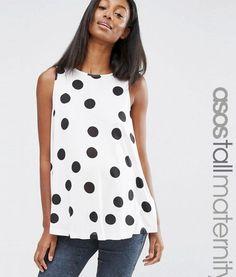 ASOS Maternity TALL Sleeveless Swing Top In Polka Dot – Multi. Tall Clothing for tall women at PrettyLong.com